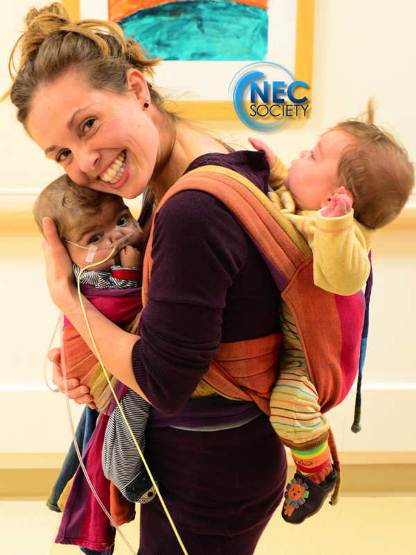 Mom with two infants; premature babywearing