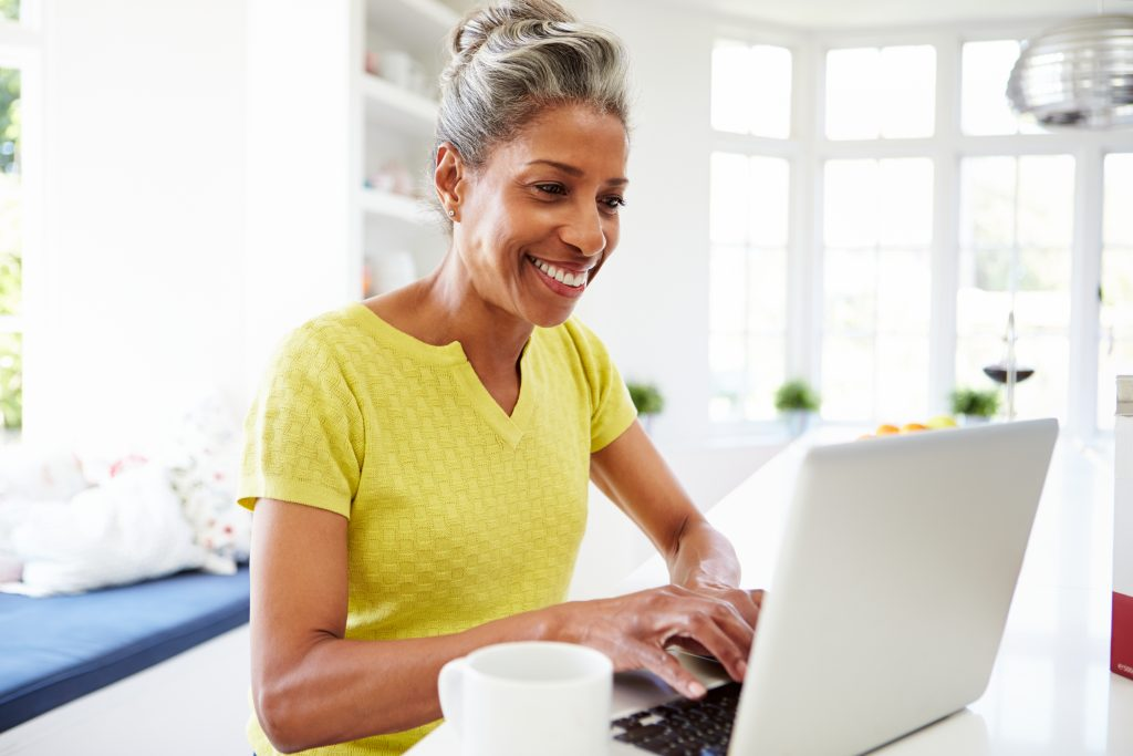 Woman online getting free resources.