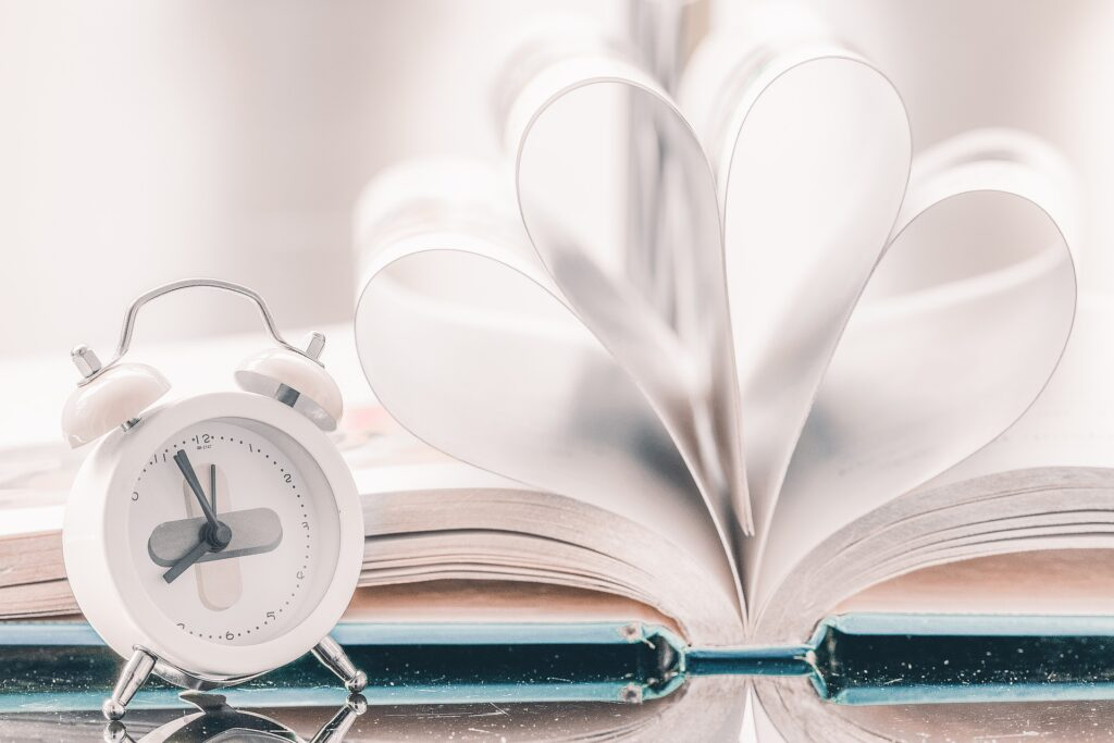 Alarm clock with book
