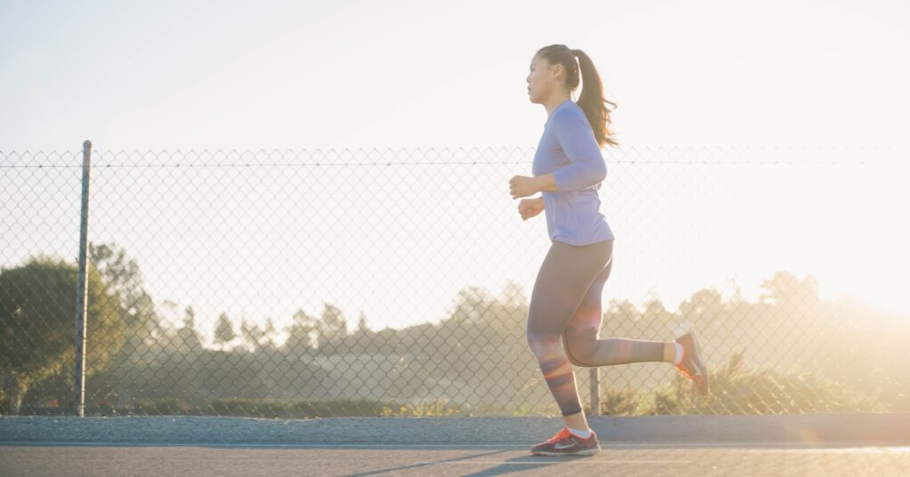 Woman taking action by running.