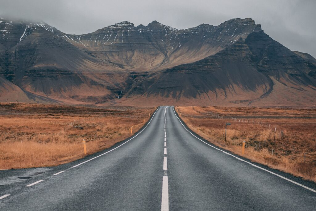 Road leading into mountains.